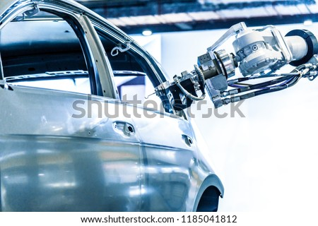 The robot arm on the automobile production line