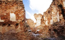 the ruins of an ancient fortress, located in the village of Golshany, Belarus. winter