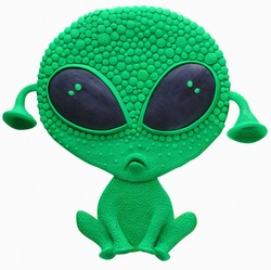 The sad green alien realized that he had arrived on the wrong planet and was upset and slept from JOVI plasticine