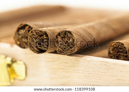 the small cigars combined together. small depth of sharpness