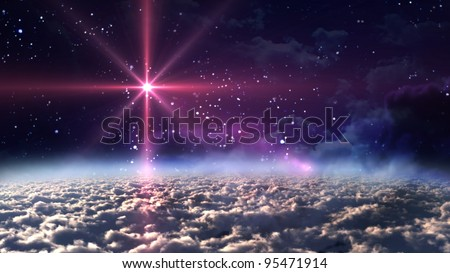 the space starry night - stock photo
