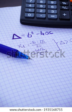 The specimen of the delta. delta calculation  Calculation of the zero point of the quadratic function. Learning math. Repeat before test Zdjęcia stock ©