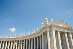 The statues of the facade of the cathedral on top sanctuary of St. Peter in State of the Vatican City,near Italy.
