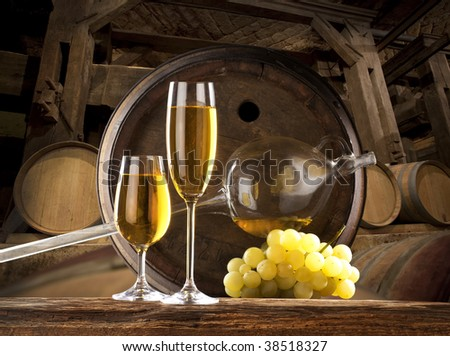 the still life with glass of white wine