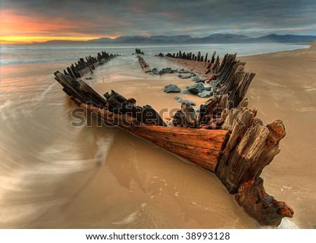 The Sunbeam  ship wreck on the Rossbeigh beach
