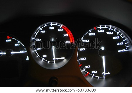 the tachometer and indicators of the temperature and the state of fuel - stock photo