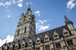 The tallest belfry in Belgium. Ghent architecture