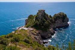 The tower in Capo di Conca in the municipality of Conca dei Marini. Located on a suggestive promontory stretching towards the sea, it was part of the defensive apparatus of towers on the Amalfi coast