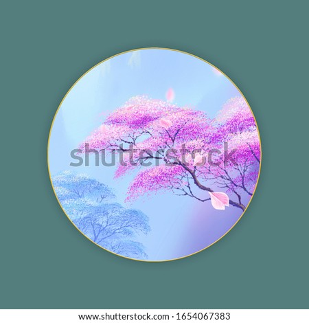 The Trees pink blooming, oriental cherry tree,  misty mountains in the distance,  can be used for  floral poster, invite. Decorative greeting card or invitation design background