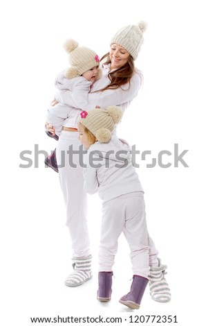 The woman with two children on a white background