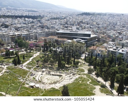 Theatre of Dionysus and Acropolis Museum in Athens, Greece