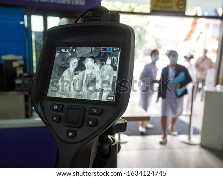Thermal imaging camera used for measuring body temperatures at hospital in Thailand.