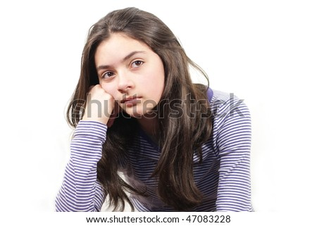 thinking young woman on white  background