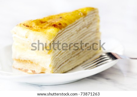 """Thousand layers cake"", famous French cake in Malacca, Malaysia."