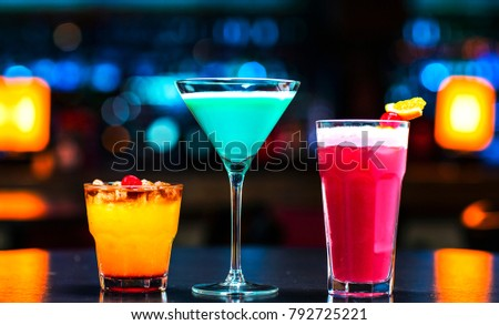 three cocktails for a nightclub of the bar