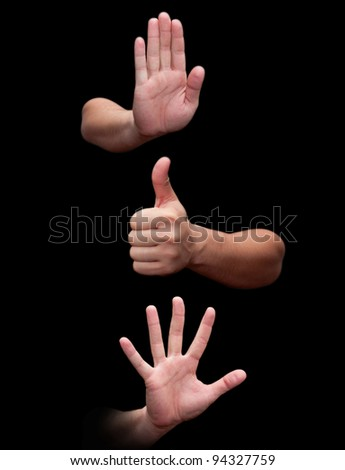 three hands isolated on white background