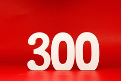 300 ( three hundred ) Isolated red  Background with Copy Space - Number 300% Percentage or Promotion - Discount or anniversary concept