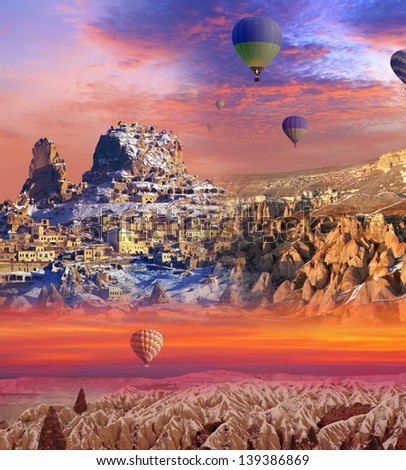 three separate regions of Cappadocia (abstract background)