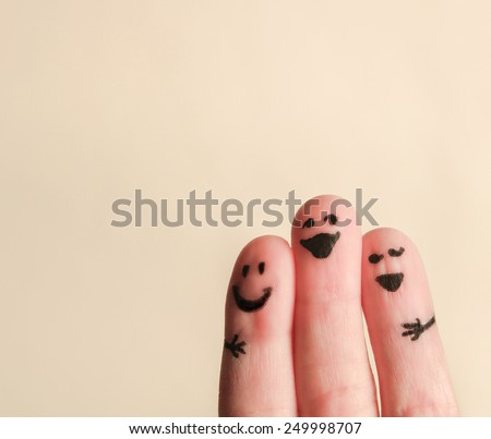 Shutterstock  three smiling fingers that are very happy to be friends
