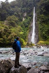 Thunder Creek Falls next to Haast Highway, New Zealand