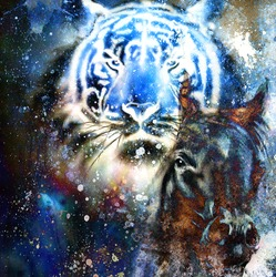 tiger with horse,  collage on color abstract  background,  rust structure, wildlife animals