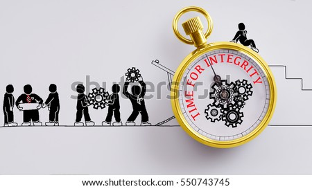 """Time fot integrity"" words on pocket watch with workers doodles carry on cog and read plan to fix it on white background - business, time and finance concept #550743745"