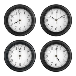 4 times wall round clock black white with number and clockwise on twelve o'clock or 12 10 8 5 with pm am and noon or night to time out or working break and morning or lunch on white background isolate