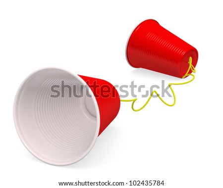 """Tin can telephone"" made up of two red plastic cups on white background with clipping path. 3D render."