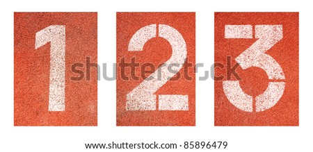 1 to 3 ,Numbers on red running track