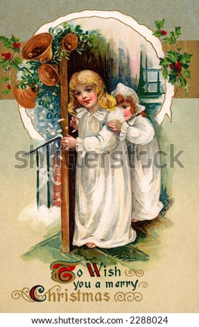 'To Wish You A Merry Christmas' - Children In Night Gowns ...