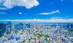 Tokyo landscape July blue sky and clouds