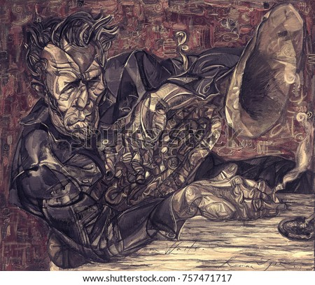 Tom Waits, famous musicians, celebrities of jazz,oil painting, artist Roman Nogin, series