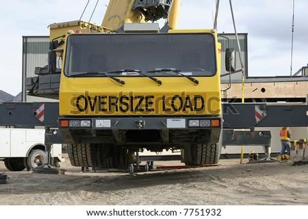 220 ton crane set up on outriggers