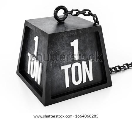 1 ton weight isolated on white background. 3D illustration. Zdjęcia stock ©