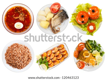Top view of few plates with food over white background
