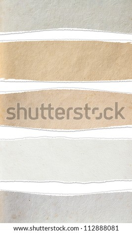 Torn paper textures background, isolated on white (Save Paths For design work)