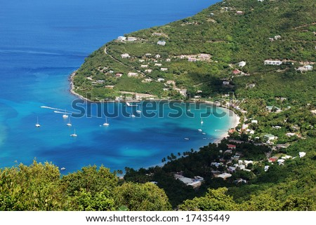 Tortola island coastline from above (British Virgin Islands).