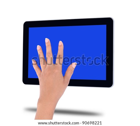 touch tablet computer isolated on white background