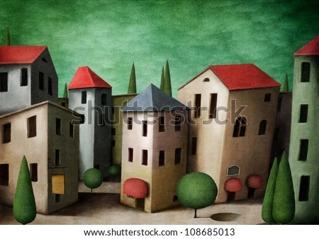 town, greeting card or illustration. Computer Graphics.