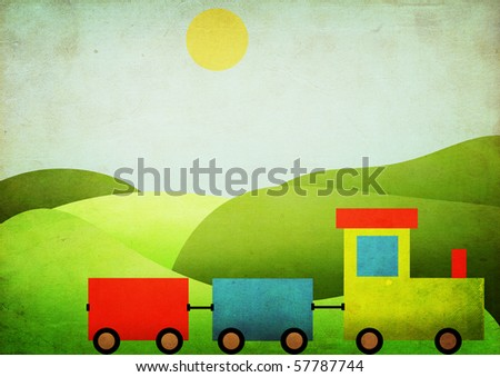 Toy train riding over landscape