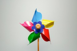 Toy windmill on a white background