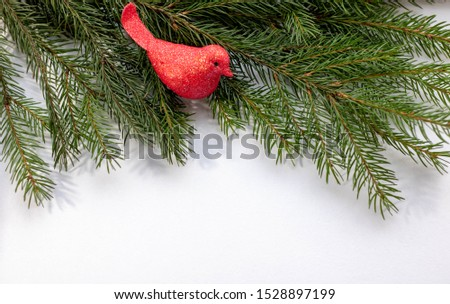 2020 Toys on spruce branches. Christmas tree decorations and decorations in the design.
