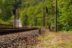 tracks for trains in nature in Prague in the Czech Republic in the spring