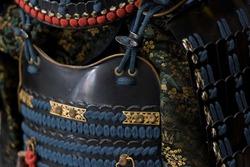 Traditional armor of a Japanese samurai