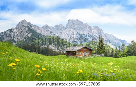 Traditional austrian alpine cabin, Salzburger Land, Austria