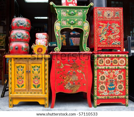 traditional Chinese furniture shop - stock photo
