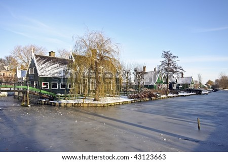 Traditional Dutch houses in the little village of Zaanse Schans, the Netherlands in wintertime