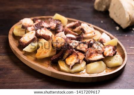 Traditional Galician octopus dish in ceramic dish