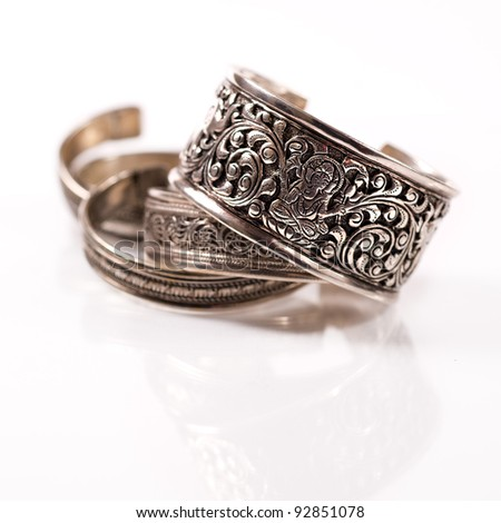 Traditional Indian bracelets of silver