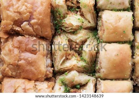 traditional sweet oriental dessert, oriental sweets close-up, baklava